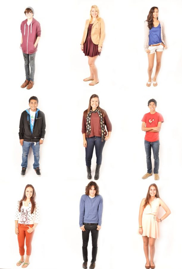 Nine students embody the back to school styles at Foothill. Credit: Lauren Pedersen/The Foothill Dragon Press