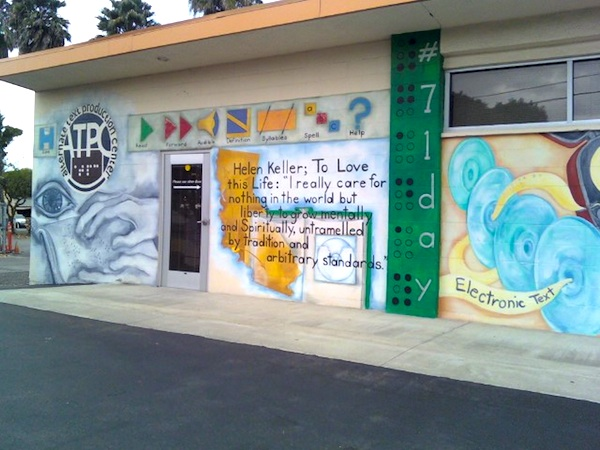 This is one of the buildings that the Alternate Text Production Center uses to transcribe school books for the visually impaired. Credit: Caitlin Trude/The Foothill Dragon Press.