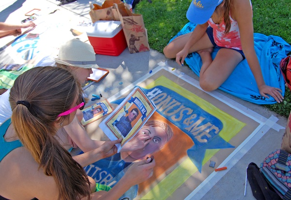 Ventura High students drew in front of the school on Wednesday during their annual Chalk Festival. Credit: Alex Phelps/The Foothill Dragon Press.