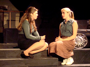 Juniors Kate Danker (left) and Ashley Williams play two high school girls who enjoy talking about boys and their dreams of life outside of Eldritch. Credit: Anaika Miller/The Foothill Dragon Press