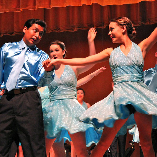 Ventura senior Marcel Hernandez and junior Hana Hallahan perform with Company Friday night at the Festival of Talent. Credit: Jackson Tovar/The Foothill Dragon Press