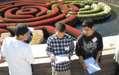 Freshman Francisco Reyes, junior Brandon Davis and junior Alex Capilla sketch the gardens at the Getty Museum Wednesday. Credit: Karie Portillo/The Foothill Dragon Press.