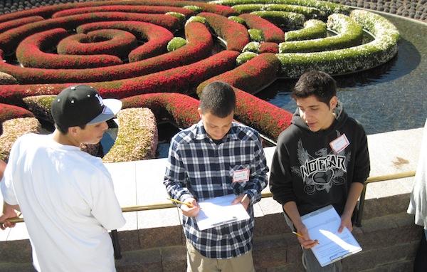 Freshman Francisco Reyes, junior Brandon Davis and junior Alex Capilla sketch the gardens at the Getty Museum Wednesday. Credit: Karie Portillo/The Foothill Dragon Press.