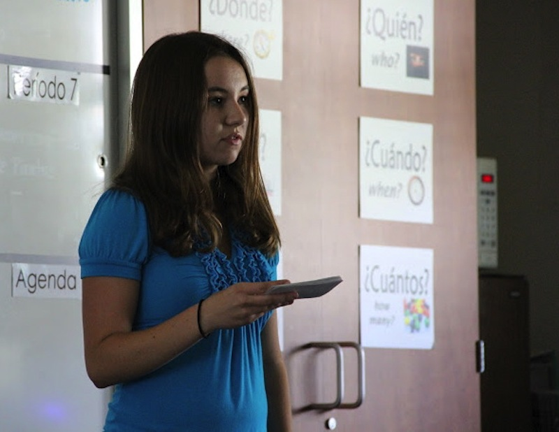 Senior Averi James gives her Hero Project presentation Friday afternoon. Credit: Bethany Fankhauser/The Foothill Dragon Press