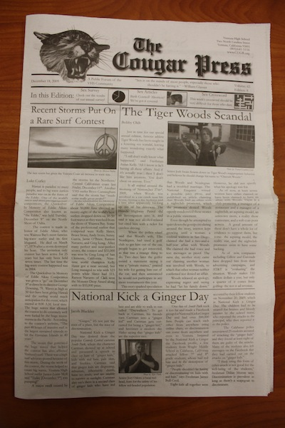 The cover page of the edition of The Cougar Press in question, containing the controversial survey. Credit:Trevor Adams/ The Foothill Dragon Press.