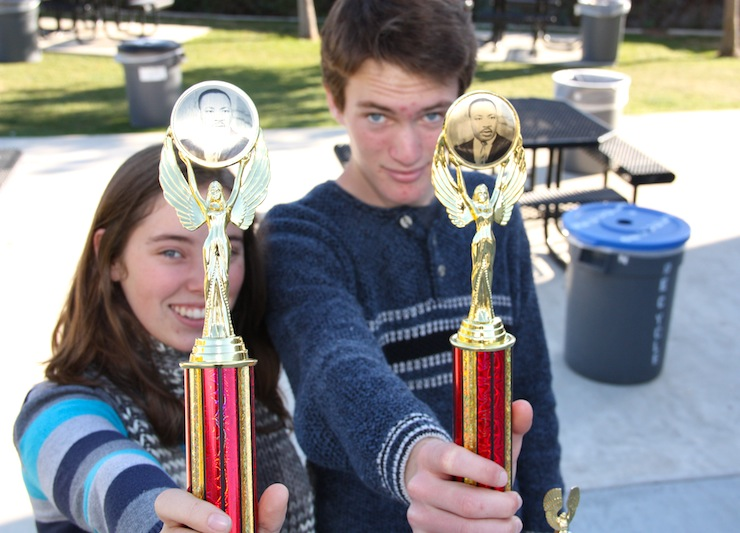 Senior Anaika Miller and junior Luke Ballmer show off the quarterfinal trophies they received at a debate tournament last weekend. Credit: Felicia Perez/The Foothill Dragon Press.