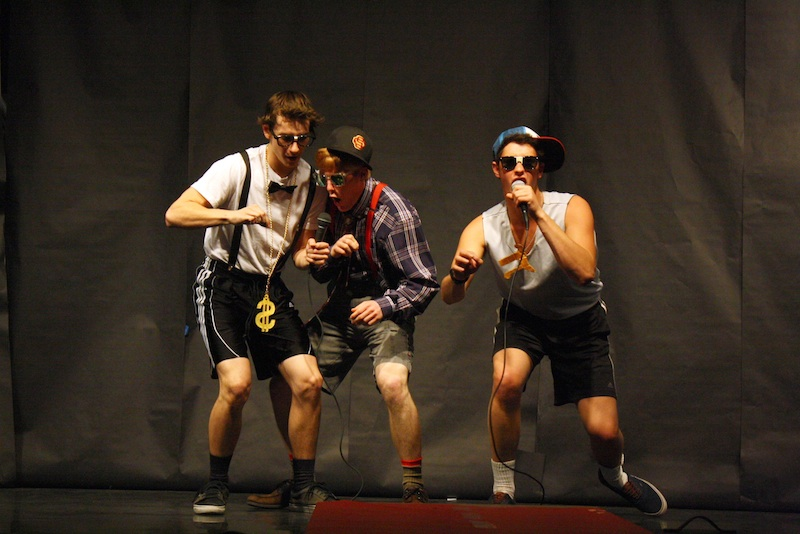"Seniors Trevor Kirby, Greg Oyan and Henry Ashworth performed a parody of the song ""Sexy and I Know It"" called ""Nerdy and I Know It."" Credit: Aysen Tan/The Foothill Dragon Press."