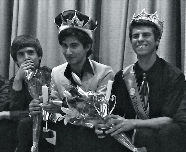 At the first Mr. Foothill Pageant, junior Oscar Pratt (center) was crowned as Mr. Foothill and junior Daven Gonzales (right) was honored with the People's Choice Award. Credit: Maya Morales/The Foothill Dragon Press.