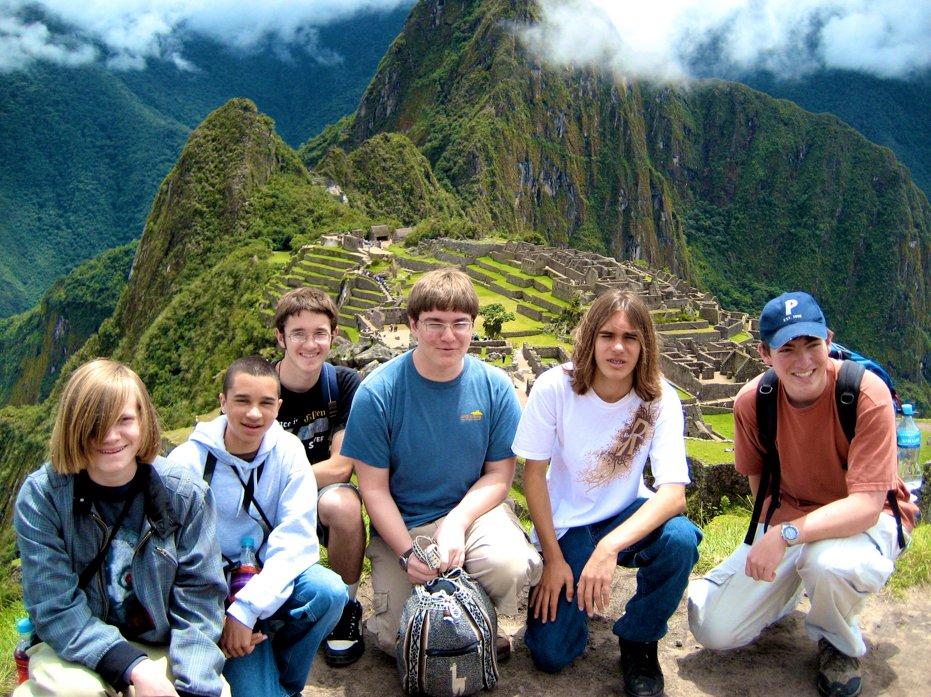 Nick Haverland (left) in Peru with Foothill classmates. Credit: Joshua Dinkler.