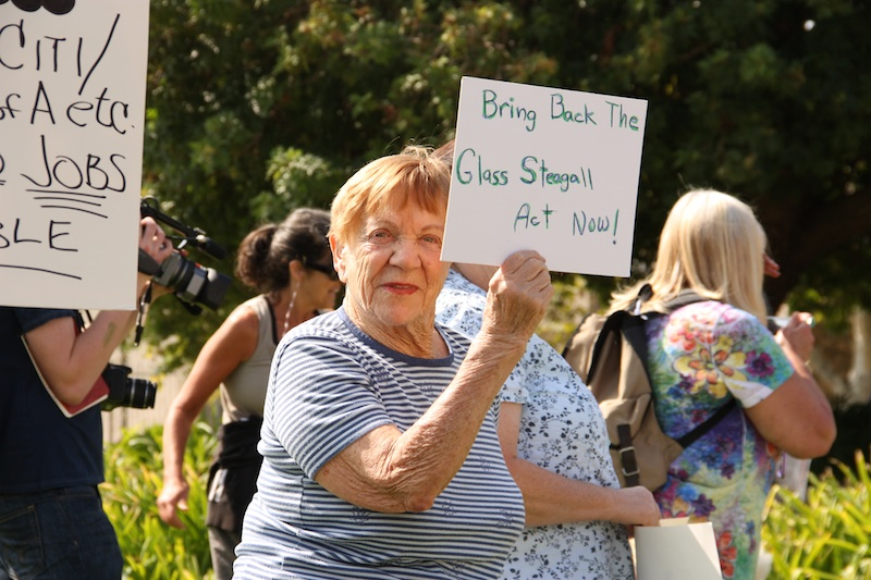 Betty Sherman, 91, stood downtown at Occupy Ventura today to show her support for people taking action against