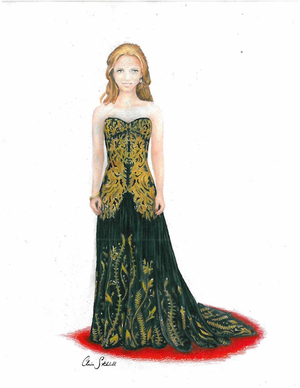The Help's Jessica Chastain wore a black, strapless dress with gold embellishments by Alexander McQueen for the Academy Awards. Illustration credit: Claire Stockdill/The Foothill Dragon Press