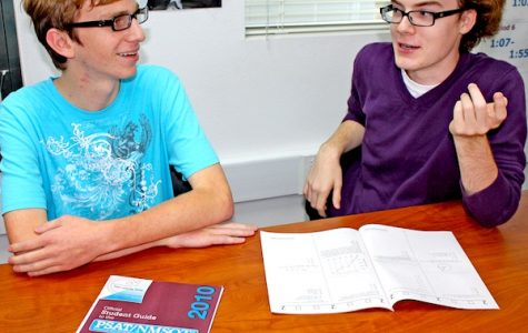 Seniors Jim Bern and Sam O'Donnell discuss the PSAT and how they became National Merit Finalists. Alex Phelps/The Foothill Dragon Press.