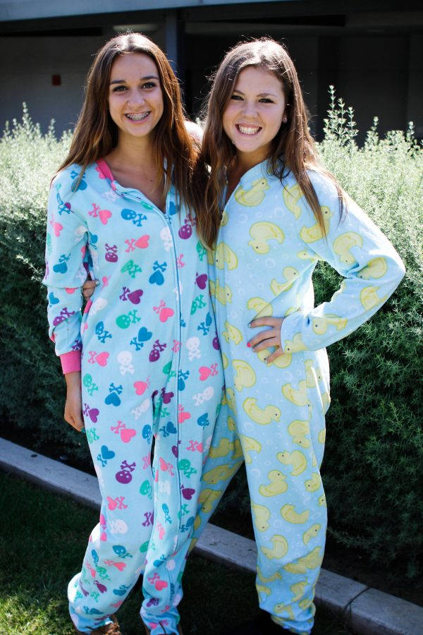 Sophomores Cassidy Bouchard and Shelly Boyd show their school spirit on Pajama Day. Credit: Bethany Fankhauser/The Foothill Dragon Press