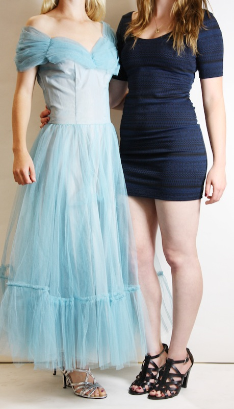 While the prom dress on the left can take you back in time, the dress on the right is a more modern style and is not quite as formal. Credit: Katie Sones/The Foothill Dragon Press