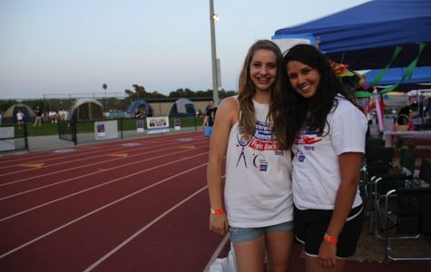 Sophomores Casey Collet (left) and Tara Yanez (right) participate in Relay for Life this past weekend. Credit: Felicia Perez/The Foothill Dragon Press