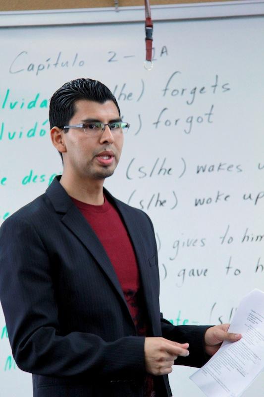 Spanish teacher Adrian Sanchez uses TPRS to teach his classes. Credit: Josh Ren/The Foothill Dragon Press