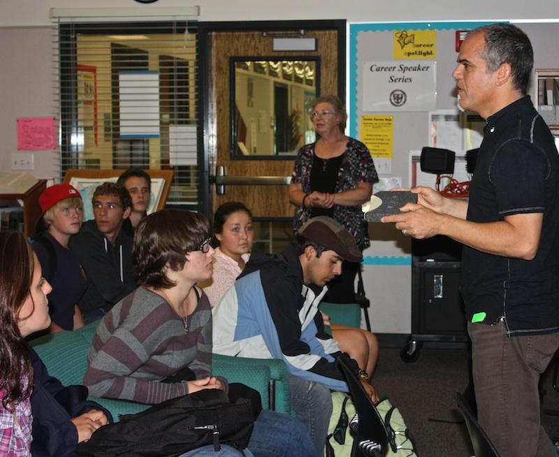 Seniors listen to industrial designer John Cook share information about his job. Credit: Bridget Parrino/The Foothill Dragon Press.