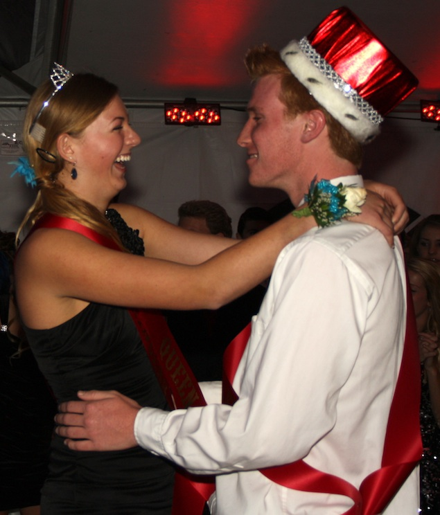 Seniors Rachel Alston and John Sheehy, this year's Winter Formal king and queen, take to the dance floor. Credit: Felicia Perez/The Foothill Dragon Press.