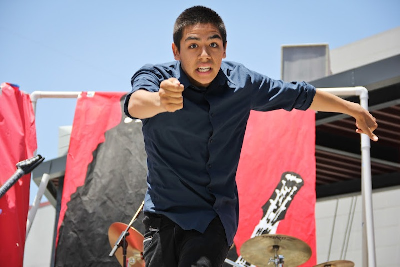 Junior David Hernandez dances at Air Guitar. Credit: Bethany Fankhauser/The Foothill Dragon Press