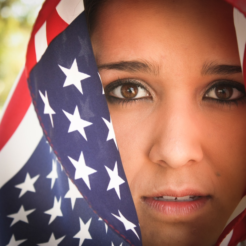 Sophomore Tara Yanez poses as an American living in fear. Photo illustration credit: Bethany Fankhauser/The Foothill Dragon Press