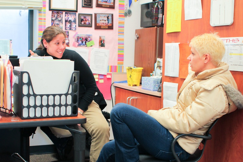 """ASB advisor Darcy Duffy (left) talks to Melanie """"Captain"""" Lindsey (right), who is interested in taking over as ASB advisor when Duffy takes a partial leave of absence next year. Credit: Aysen Tan/The Foothill Dragon Press"""