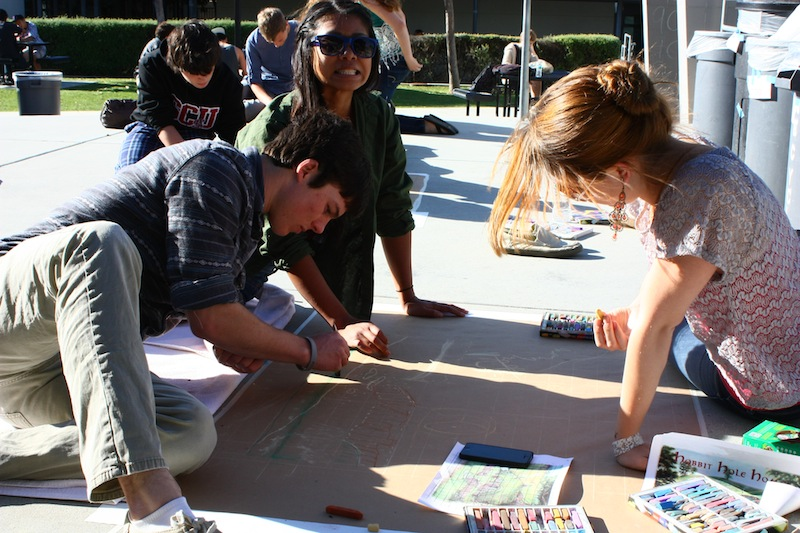 Students worked on their chalk art today at school for the Art Show on Friday. Credit: Josh Ren/The Foothill Dragon Press