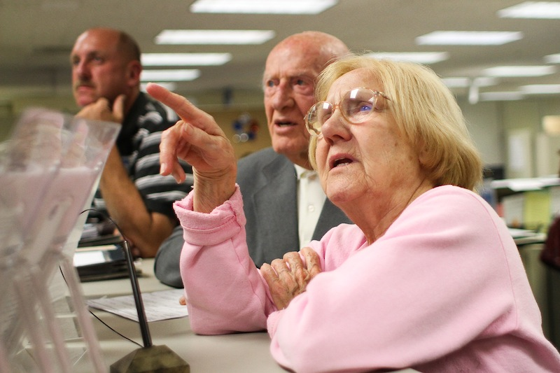 Ventura voters watch the results of the election Tuesday night at the Ventura County Government Center. Credit: Aysen Tan/The Foothill Dragon Press