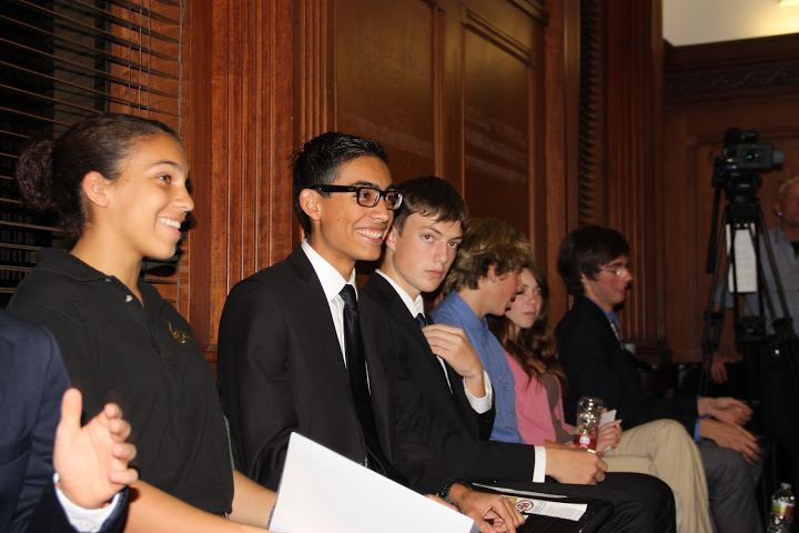 Competitors (from left) sophomores Ashley Jones, Carlos Cohen, Nathan Staples, Spencer Nichols, Allie Olson, and junior Josh Ward wait to present their speeches at a competition for aspiring entrepreneurs. Credit: Stevi Pell/The Foothill Dragon Press