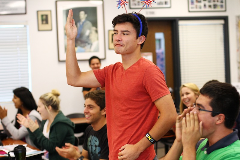 Moderate Congressman Chandler Vu won the period one AP Government and Economics class mock elections. Credit: Bethany Fankhauser/The Foothill Dragon Press