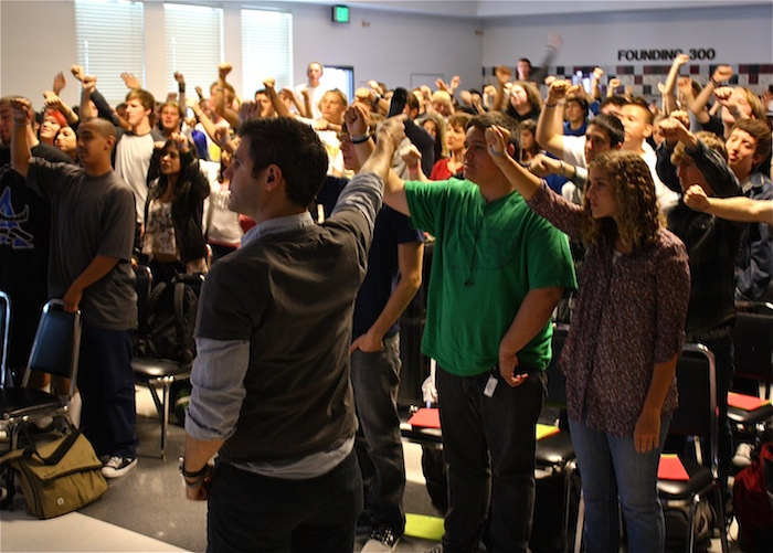 """Seniors and senior teachers pledge to """"finish strong"""" at the Senior Hero Project Kickoff assembly in Spirito Hall. Credit: Jillian Lopez/The Foothill Dragon Press."""