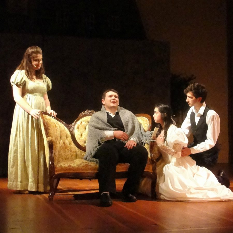 From left to right, Evelyn Utterback, Josh Stover, Sarah Covault, and Zach Macias perform Les Miserables on stage at Poinsettia Pavilion. Credit: Marta Dewey. Used with permission.
