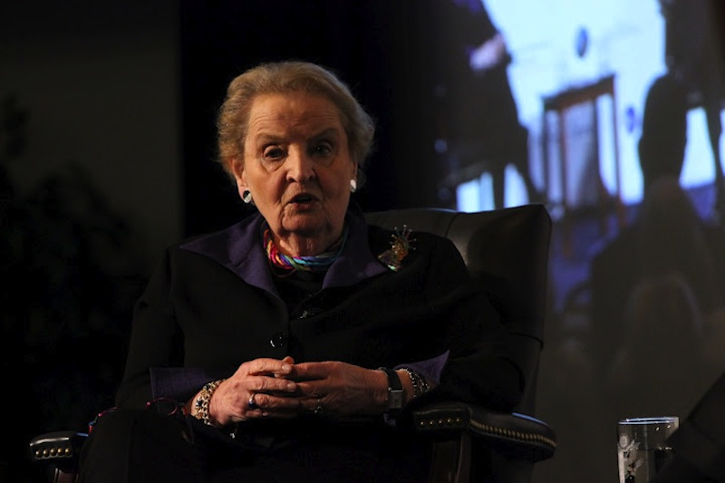 Former Secretary of State Madeleine Albright speaks at the Reagan Library's National Endowment of Democracy event.