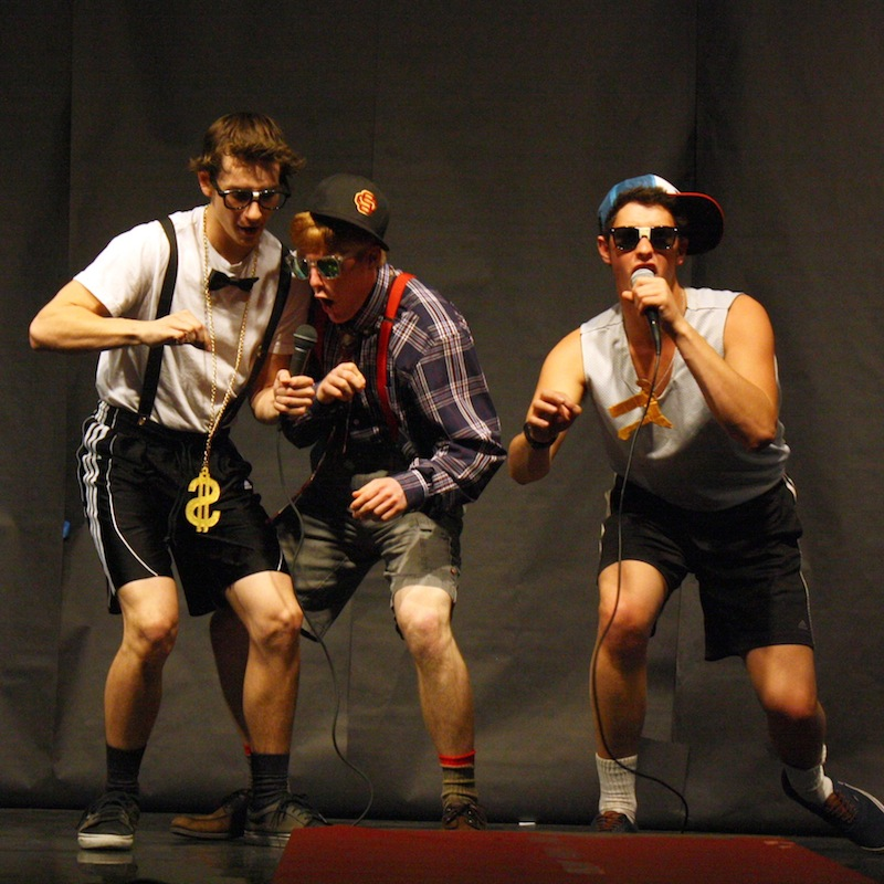 Class of 2012 alumni Trevor Kirby, Greg Oyan, and Henry Ashworth participating in last years Mr. Foothill competition. Credit: Aysen Tan/The Foothill Dragon Press
