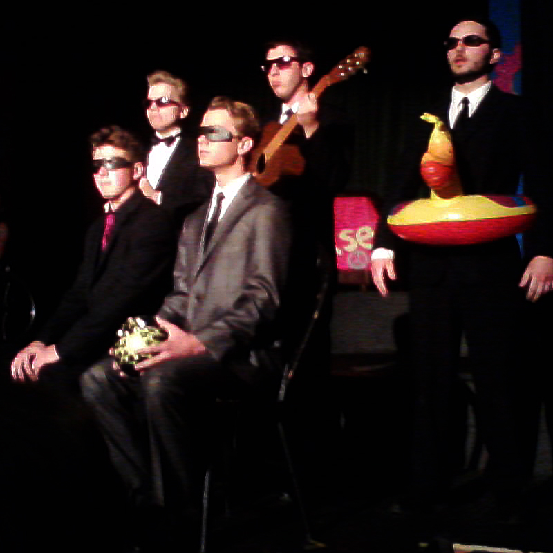 Ventura High School students perform a monologue about friendship at Venturas Spring Showcase. (From left, bottom row) Christian Bennett, Nate Budroe, (from left, top row) Seryozha LaPorte, Gage Burgi, and Joey Santi. Credit: Hannah Padaoan. Used with permission.