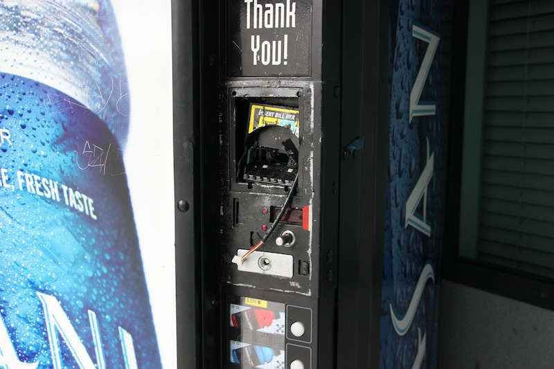 Vending machines on Foothill's campus were damaged during an alleged burglary early Sunday morning. Credit: Aysen Tan/The Foothill Dragon Press